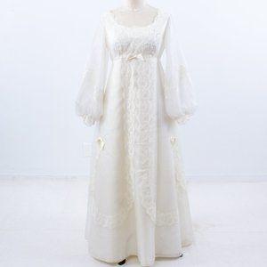 Vintage 70s 6 Boho Long Sleeve Wedding Dress Ivory